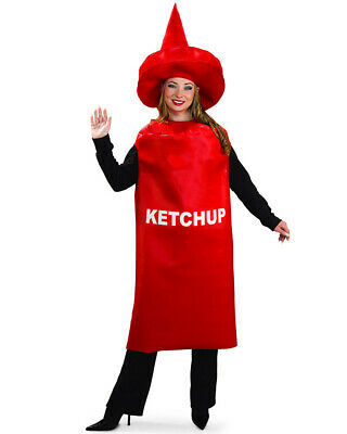 Mens Ladies Red Ketchup Sauce Food Stag Hen Do Party Fancy Dress Costume Outfit