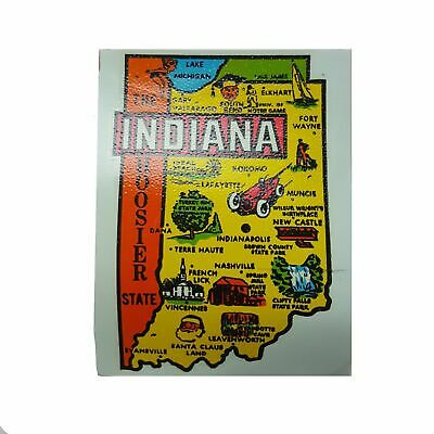 Vintage 1960s INDIANA State Map Decal