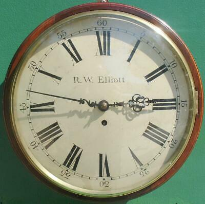 "R W Elliott 12"" Convex Dial 8 Day Fusee Mahogany Barrel Clock"