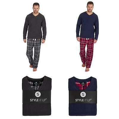 Childrens Pyjamas Long Sleeve Top/Check Pant/Bottom Boys/Kids soft fleece winter