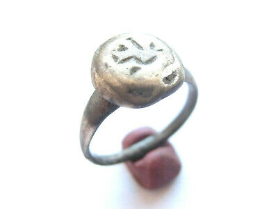 Ancient CELTIC Silver Ring  DRUID SYMBOLS Engraved > *La Tene* Period - 300 BC