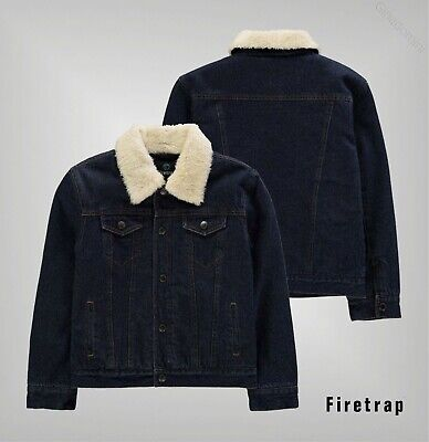 Boys Firetrap Full Button Closure Sherpa Lined Denim Jacket Sizes from 7 to 13