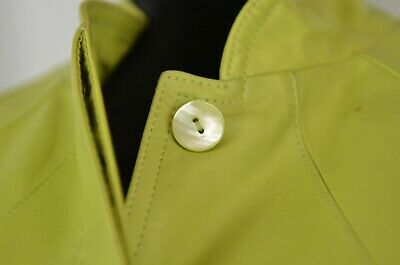 Lafayette 148 Green Leather Jacket Size 12 Button Up Cropped Mandarin Casual Fun