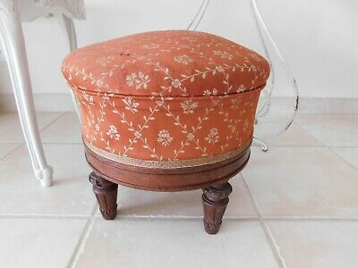 Antique French Round Upholstered Footstool, Neoclassical Style