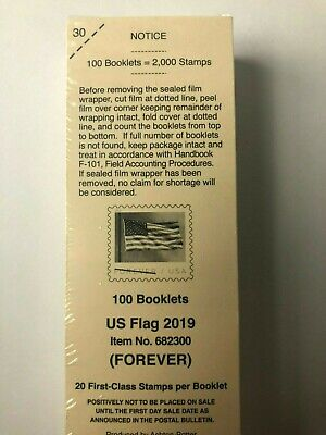 USPS US Flag 2019 (FOREVER) 100 Booklets of 20 Stamps Each = 2,000 Stamps - New