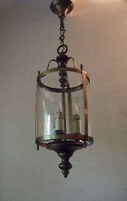 Large Antique  French Brass And Round Glass Lantern Chandelier  Hall Light