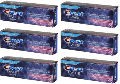 Crest 3D White Deluxe Toothpaste 3 In 1 Vitalizing Fresh 6x75ml **EXP 11/2019**