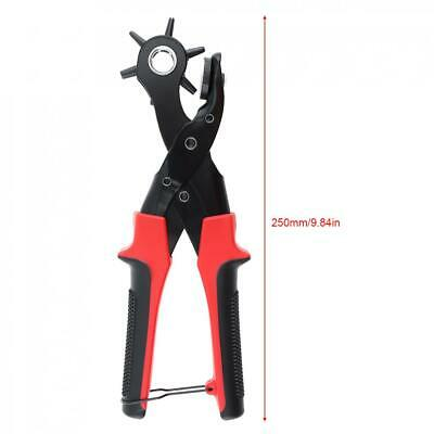 Leather Belt Eyelet Hole Punch Pliers Heavy Duty Band Revolving Puncher 6 Size