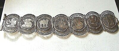 "OLD EGYPTIAN 800 SILVER 1.4"" W 30 gm PYRAMID PHARAOH PANEL BRACELET"