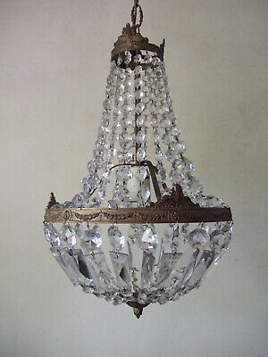Antique French with crystal bead chains teardrop, montgolfiere  chandelier light