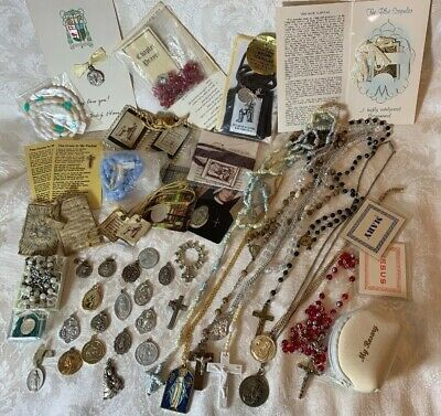 Lot of 46 Vintage Assorted Catholic Medals Rosary Beads from Church Estate