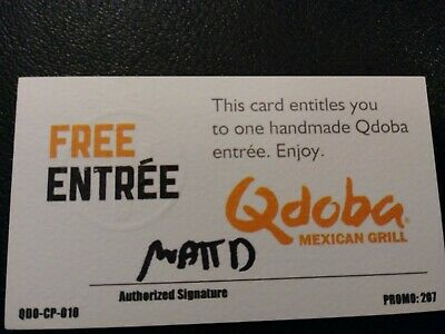 Qdoba Entree Voucher, NO EXPIRATION, Shipping 1 Business Day
