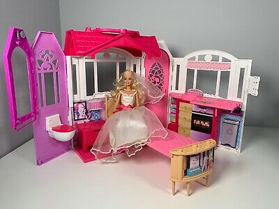 Barbie Doll Glam Getaway Doll House Fold And Carry Mattel 2014 + Barbie Doll
