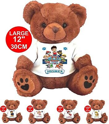 "Personalised Brown Teddy Bear 30CM/12""  PAW PATROL CHRISTMAS BIRTHDAY ANY NAME"