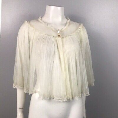 1960s Bed Jacket / Sheer Off White Pleated Cape Nightie Top / Women's S/M