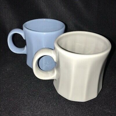 2 Vintage Homer Laughlin Coffee Mugs Cups Blue White Ribbed Restaurant Ware