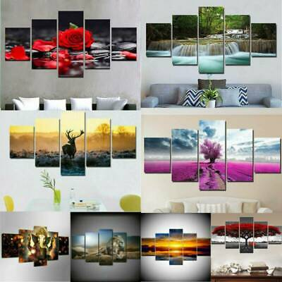 Modern 5 Panels Unframed Flower Art Large Wall Hanging Picture Canvas Home Decor