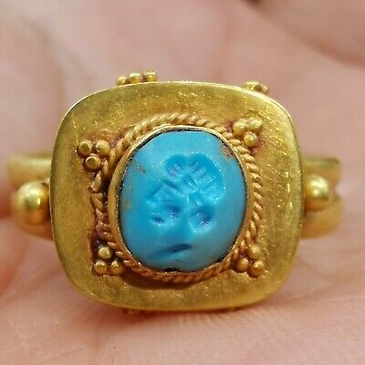Old Roman emperor turquoise seal signet high carat gold Ring # 25