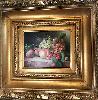 Fruit Oil Painting with Gold Leaf Frame, Signed