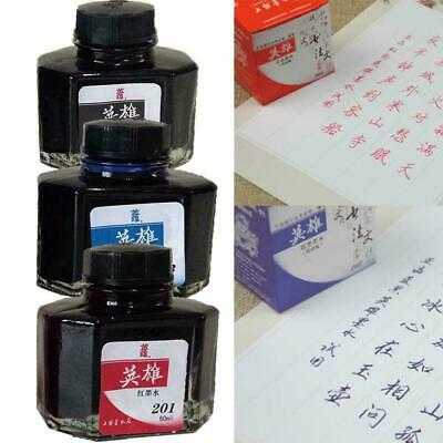60ml Hero 234 Carbon Fountain Pen Writing Ink Refill Black Red Bottle Glass O9M8