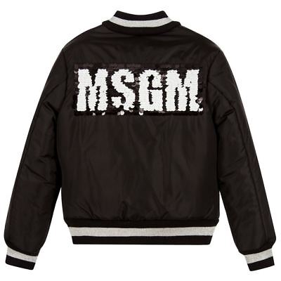 Msgm Girls Black Sequin Bomber Jacket 6 Years