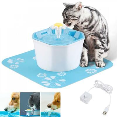 1.6L Automatic Cat Dog Water Drinking Flower Fountain Pet Bowl Drink Dish Filter