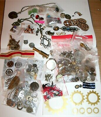 Job lot Steampunk craft / jewellery materials: watch parts, cogs, clock faces