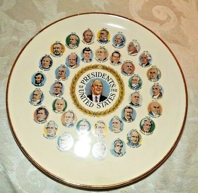 Vintage Memorabilia US Presidents Porcelain Plate Gold Trim