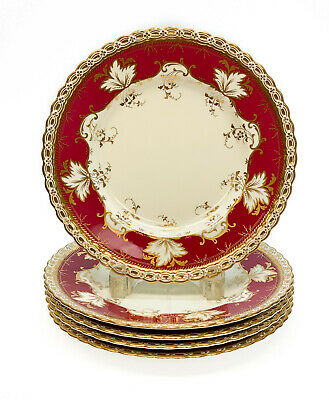 5 Minton for Tiffany & Co. Porcelain Scallop Rimmed Luncheon Plates, circa 1900
