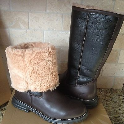 UGG Brooks Water-resistant Brown Leather Shearling Tall Boots Size US 6 Womens