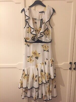 Boohoo Dress Size 10 Yellow White Black Brand New With Tags