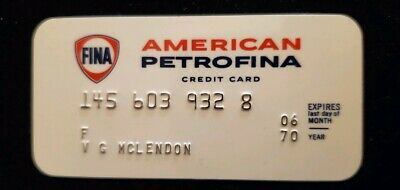 FINA American Petrofina Credit Card expired 1970 small size ♡Free Shipping♡ cc56