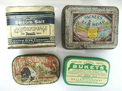 4 Vtg Packer's Soap, Wells Tablets, Epsom Salt, Bukets Tins