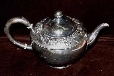 Estate Find: 1867-1898 WILCOX Quadruple Silverplated TEAPOT hinged lid & Patina
