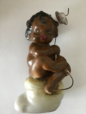 Brownie Downing Figurine Aboriginal Child on Rock with Fish