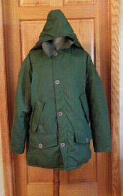 Vintage Wall's Blizzard-Pruf Grey Goose Down Coat Hood Men's Size Large Green