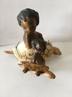 Brownie Downing Large and Small Turtle Figurine CAIRNS Nodder Aboriginal Child