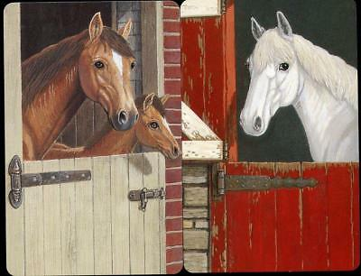 Vintage Horse Swap Cards X2 Horses In Stable With Foal (New)