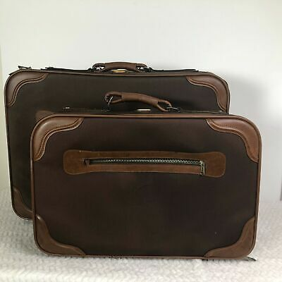 Ricardo Beverly Hills USA Brown Vintage  Travel Suitcase 2-Pc Set