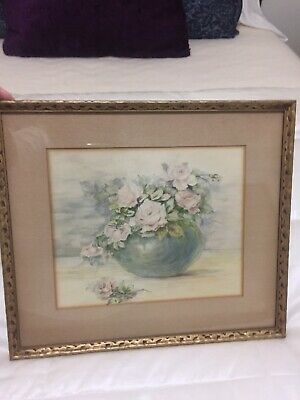 Lovely Vintage Roses Watercolor In Gilt Wood Frame Antique
