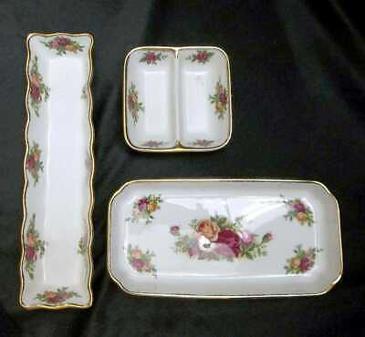 3 Royal Albert Old Country Roses Condiment Sweet Meat Dishes Bowls Trays Sets