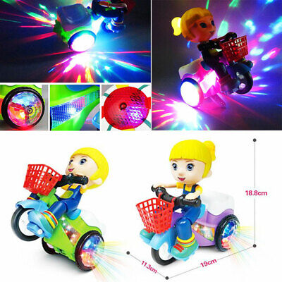Electric Kids Tricycle Toys 360° Rotating Stunt Bicycle Music & Light Xmas Gift