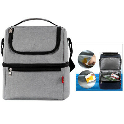 Portable Double Layer Lunch Bags Food Picnic Cooler Storage Insulated Tote Bag