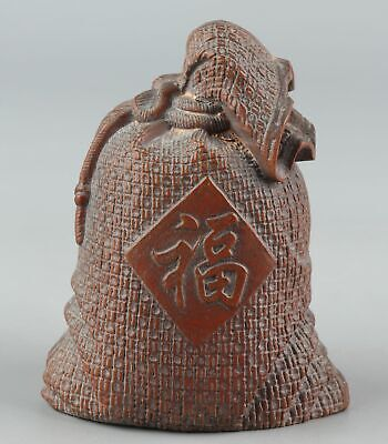 Chinese Exquisite Hand-carved Sack Carving Boxwood statue