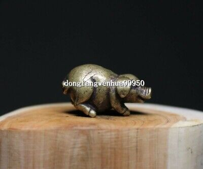 China Copper Bronze Chinese Zodiac Animal Pig Lucky Statue Pendant D111