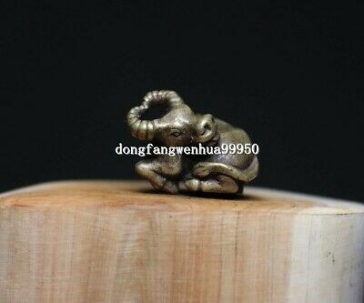 China Copper Bronze Chinese Zodiac Animal cattle OX Lucky Statue Pendant D116