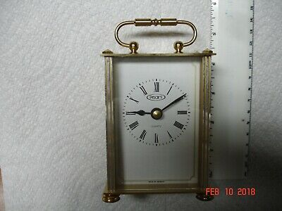 """Small 4"""" Brass Mantel/Desk Clock Made by Pearl Made in Germany"""