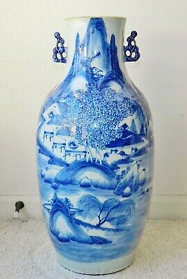"19th Century 53cm Chinese Porcelain Floor Vase Qing Dynasty Antique 21"" Tall"
