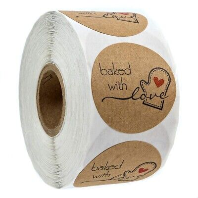 1 Inch Round Natural Kraft Baked With Love Stickers / 500 Labels Per Rol N7W3
