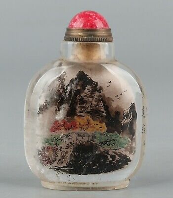 Chinese Exquisite Handmade landscape Inside painting crystal snuff bottle